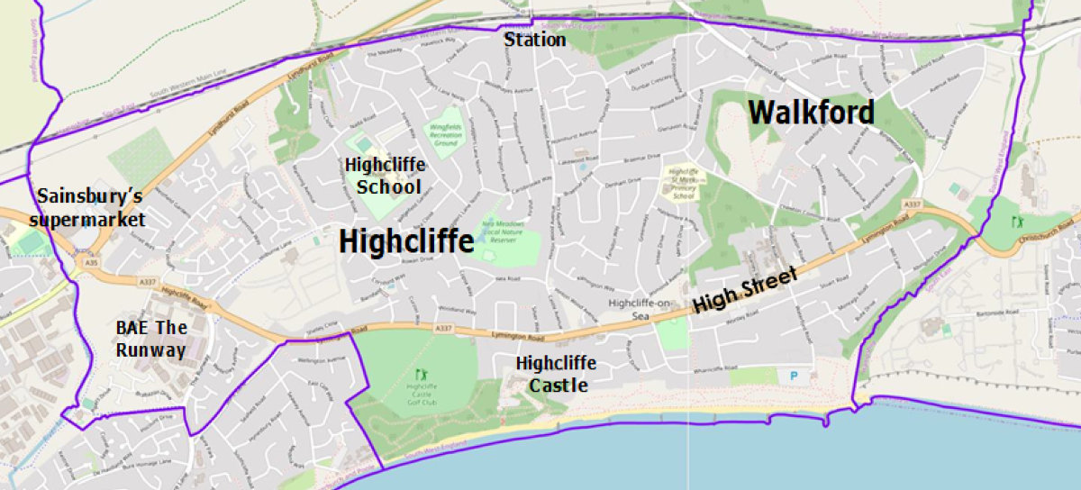 Map of the area covered by Highcliffe and Walkford Parish Council